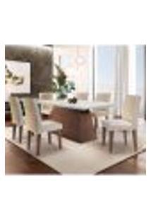Conjunto De Mesa De Jantar Luna Com 6 Cadeiras Estofadas Grécia Ii Veludo Off White E Creme