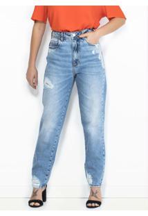 Calça Mom Jeans Com Rasgados Azul