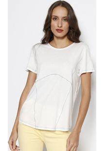 Camiseta Com Pespontos - Off White & Pretaforum