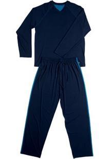 Conj. Pijama Modal Manga Longa Azul Marinho Gg