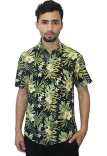 Camisa Camaleão Urbano Folhagem Tropical Preta