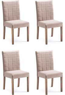 Conjunto Com 4 Cadeiras De Jantar Mara Marrom Claro E Imbuia