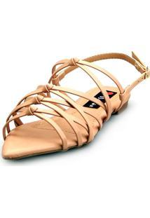 Sandalia Love Shoes Rasteira Bico Folha Trançado Nó - Tricae