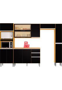 Cozinha Compacta C/ Balcão E Painel Aline-Poquema - Damasco / Preto