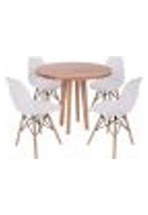 Conjunto Mesa De Jantar Em Madeira 90Cm Com Base Vértice + 4 Cadeiras Eiffel - Branca