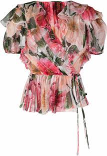 Dolce & Gabbana Blusa Gola Com Babados E Estampa - Rosa