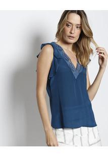 d8eadb7791 ... Blusa Em Seda Com Renda - Azul Marinhobobstore