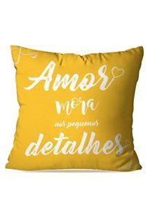 Capa De Almofada Avulsa Amor Mora Nos Detalhes 45X45Cm