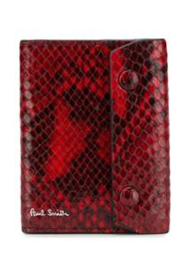 Paul Smith Carteira Com Efeito Pele De Cobra - Vermelho
