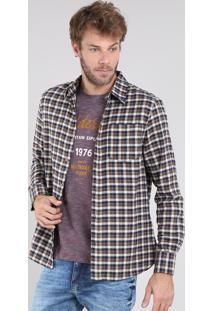 Camisa Masculina Comfort Em Flanela Estampada Xadrez Manga Longa Caramelo