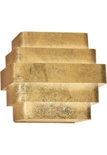Arandela Interna Retangular Laor Zurique Em Alumínio Bivolt Com Soquete G-9 - Folheada A Ouro