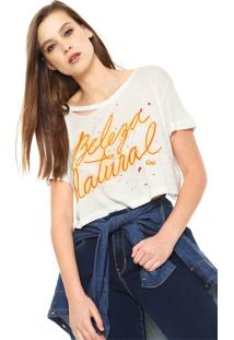 Camiseta Cropped Coca-Cola Jeans Lettering Off-White
