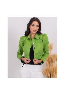 Jaqueta Miss Misses Manga Bufante Verde
