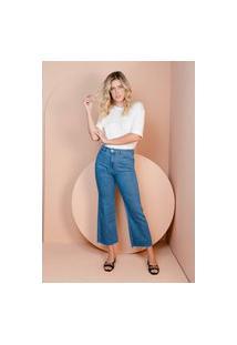 Calça Wide Leg Cropped Sisal Jeans Basica Azul