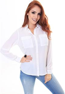 Camisa Sideral Com Dois Bolsos Off White