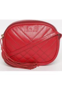 Bolsa Transversal Em Couro Matelassê- Vermelha- 15X1Edu Bolsas