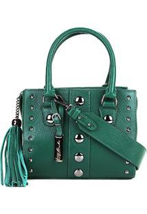 30d179bc11 ... Bolsa Couro Luiza Barcelos Mini Bag Viena Tachas Feminina -  Feminino-Verde