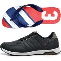 3199a524718 Kit Tenis Masculino Jogging Chinelo Sandalia Caminhada Corrida Academia