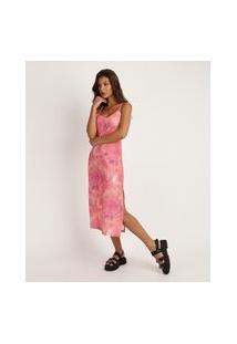 Vestido Feminino Midi Estampado Tie Dye Alças Finas Com Fenda Rosa