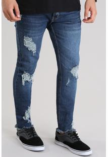 Calça Jeans Skinny Cropped Destroyed Com Algodão + Sustentável Azul Médio