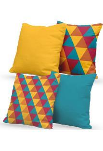 Kit 4 Capas De Almofadas Decorativas Own Triângulos Coloridos 45X45 - Somente Capa