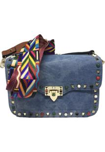 Bolsa Jeans Importada Transversal Alça Colorida Sys Fashion 8313 Azul Marinho