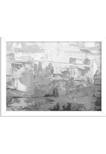 Quadro Decorativo Abstrato Moderno Cinza Branco - Grande