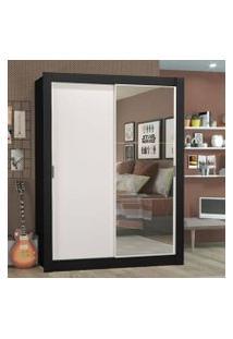 Guarda-Roupa Solteiro Madesa Denver 2 Portas De Correr Com Espelho Preto/Branco Cor:Preto/Branco