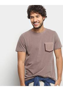Camiseta Colcci Estonada Bolso Masculina - Masculino-Marrom