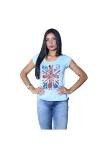 Camiseta Heide Ribeiro Keep Calm It'S A Boy Azul Claro
