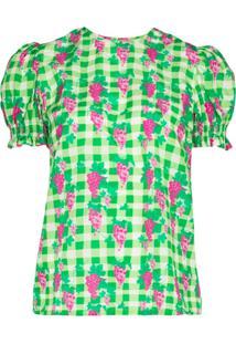Helmstedt Blusa De Algodão E Seda Com Estampa Xadrez E Uva - Verde