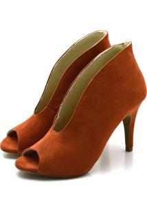 Sapato Scarpin Terracota Em Camurça