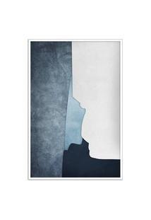 Quadro 60X40Cm Abstrato Geométrico Oriental Ireki Moldura Branca Com Vidro