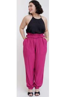 Calça Lisa Almaria Plus Size Tal Qual Jogger Rosa