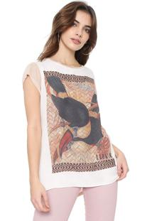 Camiseta Carmim Safira Branca/Rosa