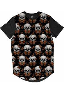 Camiseta Bsc Longline Caveira Borboleta Sublimada Masculina - Masculino