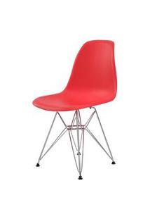 Cadeira Eames Eiffel Pp Vermelha Base Cromada - 44176 Vermelho