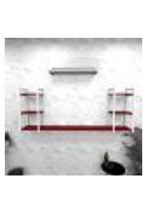 Estante Industrial Escritório Aço Cor Branco 180X30X68Cm Cxlxa Cor Mdf Vermelho Modelo Ind30Vres