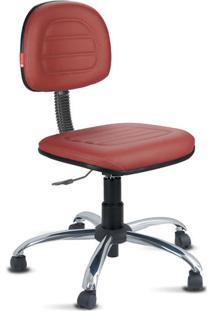 Cadeira Secretária Costura Cromada Courvin Vermelho Escuro