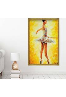 Quadro Love Decor Com Moldura Ballet Dourado Grande