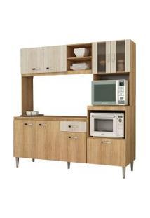 Cozinha Compacta Tati S/Tampo Carvalho/Blanche Fellicci Móveis Bege