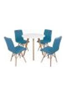 Mesa Inês 80Cm Branca + 4 Cadeiras Eiffel Gomos - Turquesa