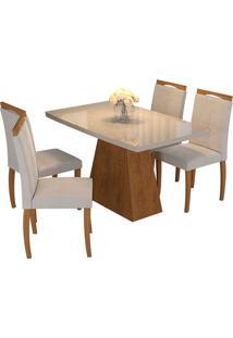 Conjunto De Mesa Com 4 Cadeiras Para Sala De Jantar 130X90-Cimol - Savana / Off White / Madeira / Aspen