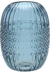 Vaso Em Vidro Redondo 20X14,8Cm Azul