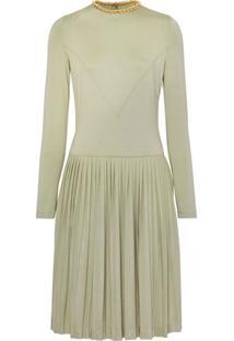 Burberry Vestido Plissado Com Detalhe De Corrente - Verde