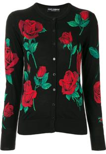 Dolce & Gabbana Roses Intarsia Knitted Cardigan - Preto