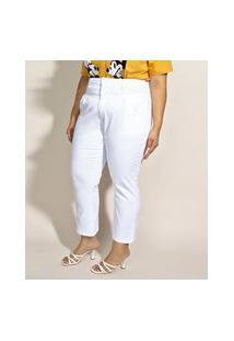 Calça De Sarja Feminina Plus Size Sawary Mom Cintura Alta Branca