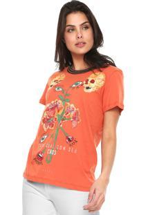 Camiseta Colcci Caos Laranja