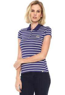 Camisa Polo Lunender Listrada Azul Branca 88e46e4b51608