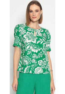 Blusa Com Vazado- Verde & Brancavip Reserva